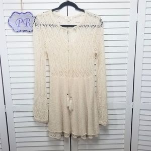 Umgee Sheer Open Knit Crochet Lace Top Or Cover Up